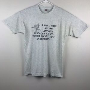Vtg Ability To Succeed Quote Men's Single Stitch